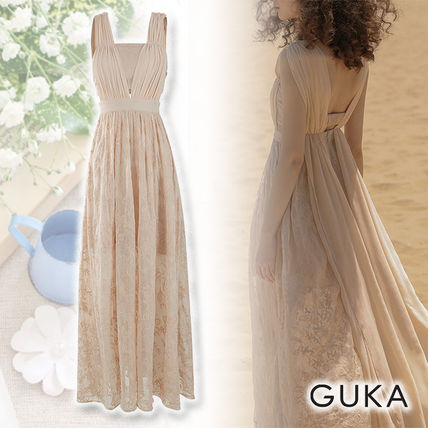 【19FW】GUKA★ Cere Embroidery Dress ロング レース 刺繍