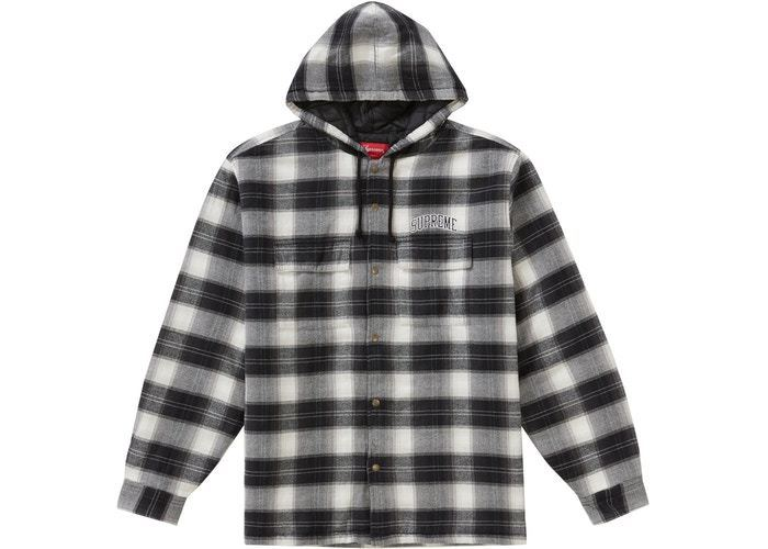 FW19 SUPREME QUILTED HOODED PLAID SHIRT BLACK S-XL シャツ (Supreme/シャツ) 50198731