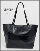 *ASOS DESIGN* croc bonded shopper bag/Black