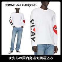 PLAY COMME des GARCONS(プレイコムデギャルソン) シャツ 日本製◆PLAY COMME des GARCONS◆White 袖ロゴトップス*関送込
