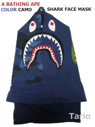 送料込!A BATHING APE(エイプ)COLOR CAMO SHARK FACE MASK 紺