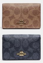COACH★Business Card Case In Signature Canvas