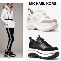 Michael Kors★Felicia Leather and Canvas★厚底スニーカー★