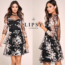 【Lipsy】Sequin Embroidered Tiered Skater Dress【送関込み】