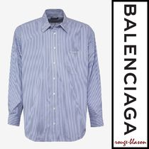 【国内発送】Balenciaga シャツ Blue Stripe Big Fit Shirt