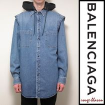 【国内発送】Balenciaga シャツ Denim Twinset Hooded Shirt
