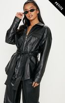 Petite Black Faux Leather Belt Detail Jacket
