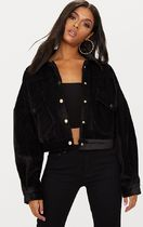 Black Cropped Cord Oversized Trucker Jacket