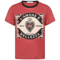 2020SS D&G 大人も着れる L'AMOREプリントTシャツ RED  (12Y)