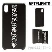 先取りSALE★Gothic白ロゴ【送込Vetements】iPhone X/XS/黒革