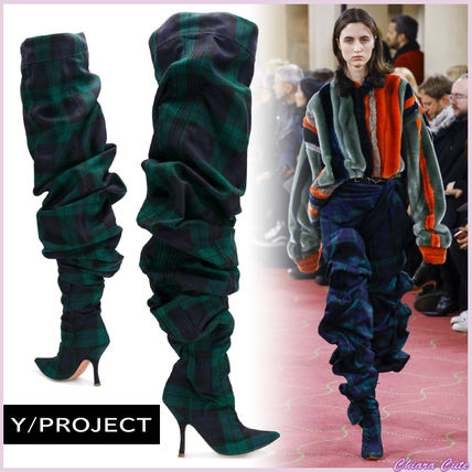 【18AW 景井ひなさん着用】Y PROJECT/Thigh Length Tartan Boots