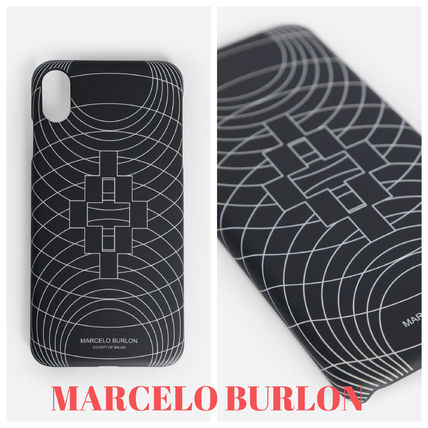 "Marcelo Burlon スマホケース・テックアクセサリー 大人気""MARCELO BURLON""MEN'S BLACK WIREFRAME XS MAX/XR CASE"