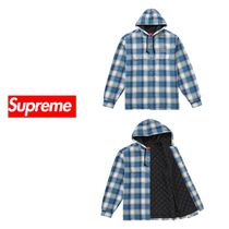 Supreme Quilted Hooded Plaid Shirt Blue