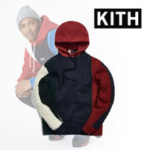 Kith Colorblock Adam Combo Knit Hoodie Pullover★Navy×Red