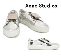 Acne Studios☆Embellished mirrored-leather sneakers