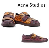 Acne Studios☆Triple two-tone snake-effect leather sneakers