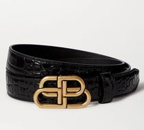 ★関税負担★BALENCIAGA★BB CROC-EFFECT 3cm LEATHER BELT