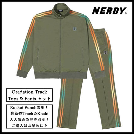NERDY セットアップ 【NERDY】Gradation Track Top&Pants/20SS/カーキ/韓国/セット