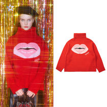 ★eyeye★韓国 ニット EYEYE LIPS EMBROID TURTLE NECK KNIT TOP
