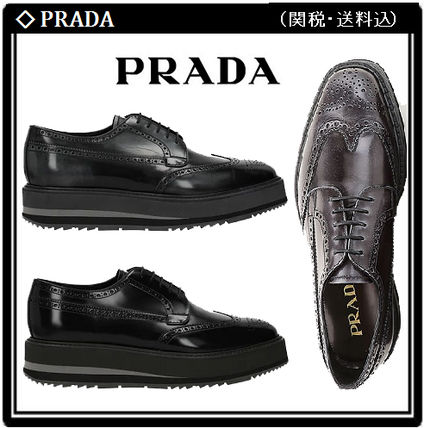 【PRADA】Leather Lace-up Derby Shoes 2色選 関税・送料込