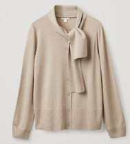 """COS"" MERINO CARDIGAN WITH NECK-TIE BEIGE"