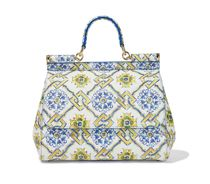 Miss Sicily Large printed textured-leather tote