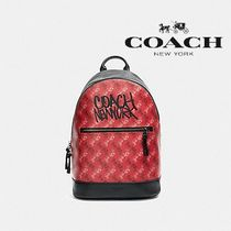 【COACH】WEST SLIM BACKPACK ロゴプリント F83421