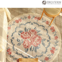 DECO VIEW★Pink Rose Lace Soft Circle Rug -100R