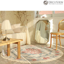 DECO VIEW★Pink Rose Lace Soft Circle Rug -150R