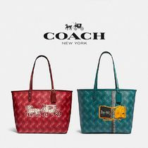 【COACH】REVERSIBLE CITY TOTE ロゴプリント F82135