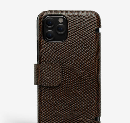 THE CASE FACTORY スマホケース・テックアクセサリー The Case Factory★iPhone 11 PRO LIZARD カードケース付 レザー(11)