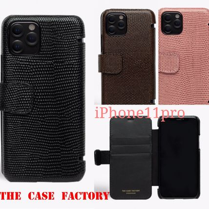 THE CASE FACTORY スマホケース・テックアクセサリー The Case Factory★iPhone 11 PRO LIZARD カードケース付 レザー