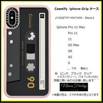 Casetify iphone Grip case♪CASETiFY MiXTAPE - Black♪