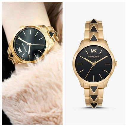 Michael Kors アナログ腕時計 【SALE☆】Michael Kors RUNWAY MERCER GOLD AND ONYX MK6699