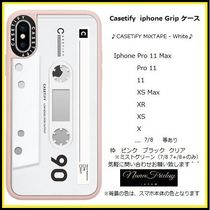 Casetify iphone Grip case♪CASETiFY MiXTAPE - White♪