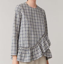 """""""COS"""" COTTON TOP WITH PLEATED HEM  WHITE/BLACK"""