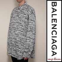 【国内発送】Balenciaga シャツ All-Over Logo Fluid Shirt