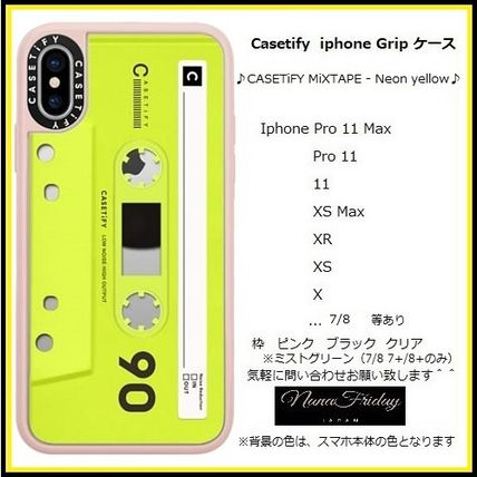 Casetify iphone Grip case♪CASETiFY MiXTAPE - Neon yellow♪