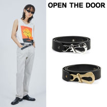 韓国ブランド☆open the door☆cow hide hexagon buckle belt