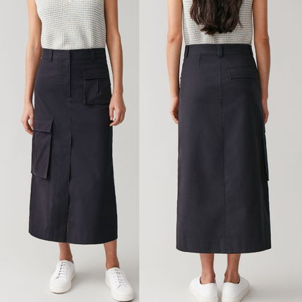 "COS スカート ""COS"" COTTON SKIRT WITH PATCH POCKETS NAVY"