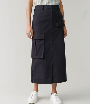"COS スカート ""COS"" COTTON SKIRT WITH PATCH POCKETS NAVY(2)"