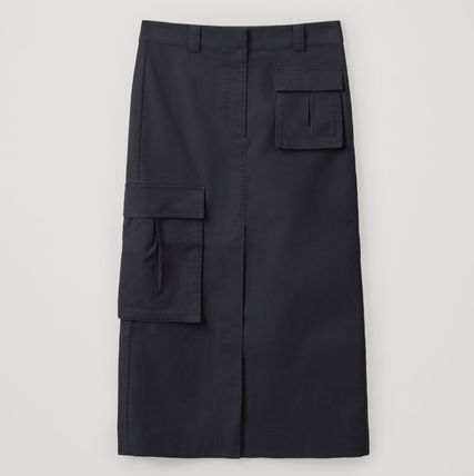 "COS スカート ""COS"" COTTON SKIRT WITH PATCH POCKETS NAVY(4)"