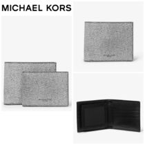 【Michael Kors】Henry Ink-Print Crossgrain Leather Wallet