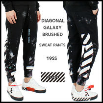 【OFFWHITE】大人気!DIAGONAL GALAXY BRUSHED SWEAT PANTS/Black