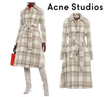 関税・送料込 Acne Studios☆Belted checked brushed-woven coat