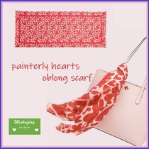 【kate spade】♡プリント♪painterly hearts oblong scarf