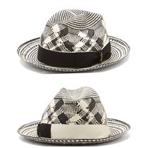 【BORSALINO】Checked papier panama hat