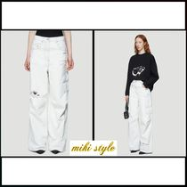【Off-White】ワイドレッグ distressedパンツ inホワイト