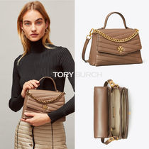 【Tory Burch】KIRA CHEVRON TOP-HANDLE SATCHEL/ Classic Taupe