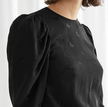 """& Other Stories"" Jacquard Puff Sleeve Top Black/Horse"